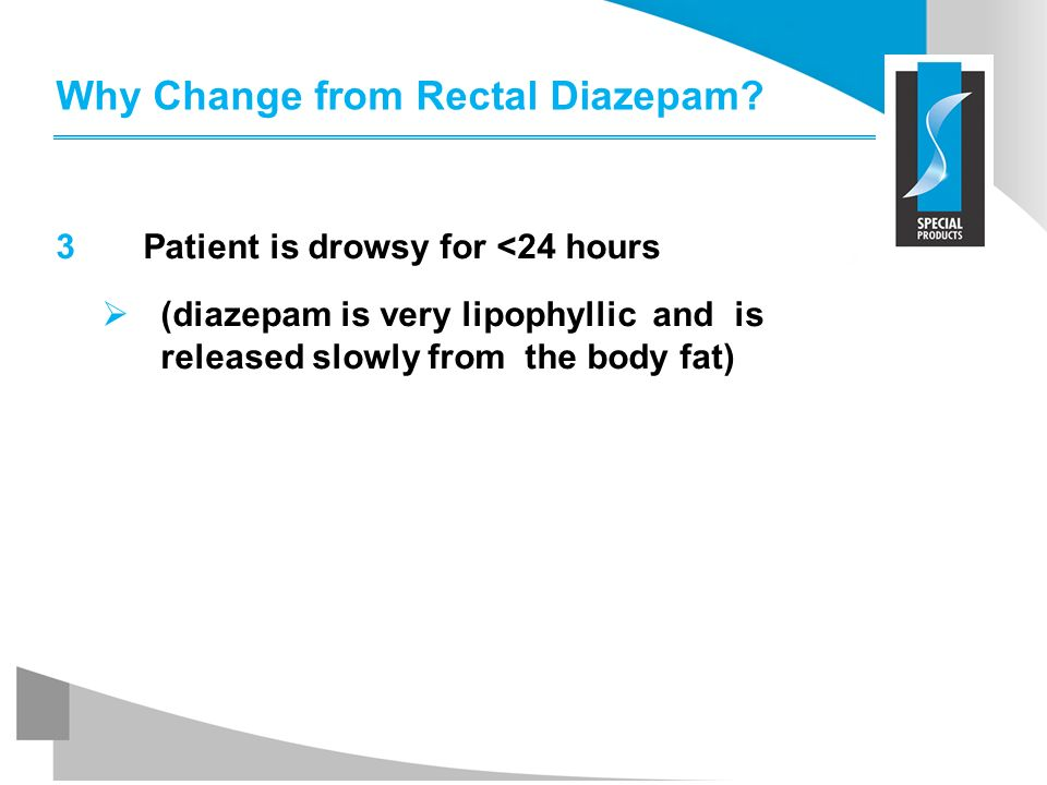 Why Change from Rectal Diazepam? 3 Patient is drowsy for <24 hours (diazepam is very lipophyllic and is released slowly from the body fat)