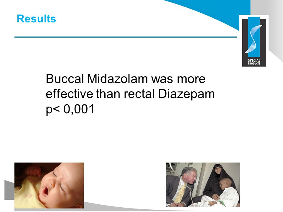 Results Buccal Midazolam was more effective than rectal Diazepam p< 0,001