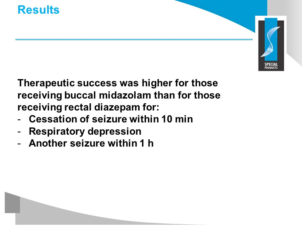 Results Therapeutic success was higher for those receiving buccal midazolam than for those receiving rectal diazepam for: -Cessation of seizure within