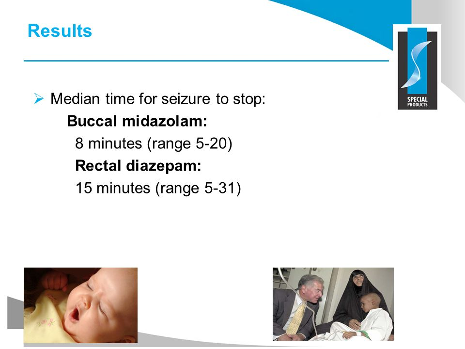 Results Median time for seizure to stop: Buccal midazolam: 8 minutes (range 5-20) Rectal diazepam: 15 minutes (range 5-31)
