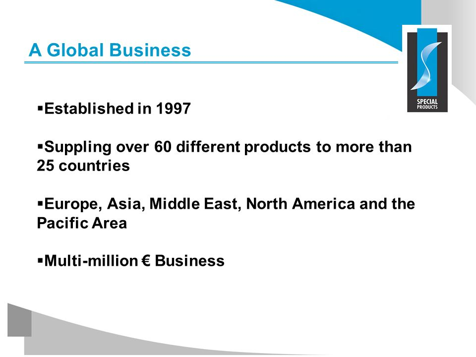 A Global Business Established in 1997 Suppling over 60 different products to more than 25 countries Europe, Asia, Middle East, North America and the P