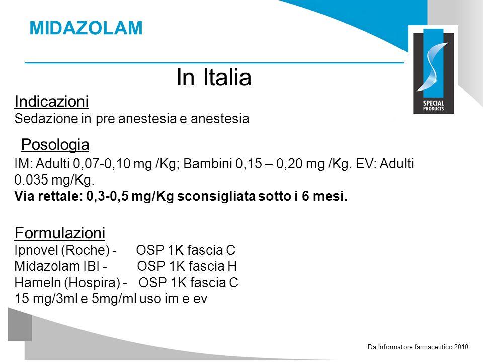 MIDAZOLAM In Italia Indicazioni Sedazione in pre anestesia e anestesia Posologia IM: Adulti 0,07-0,10 mg /Kg; Bambini 0,15 – 0,20 mg /Kg. EV: Adulti 0