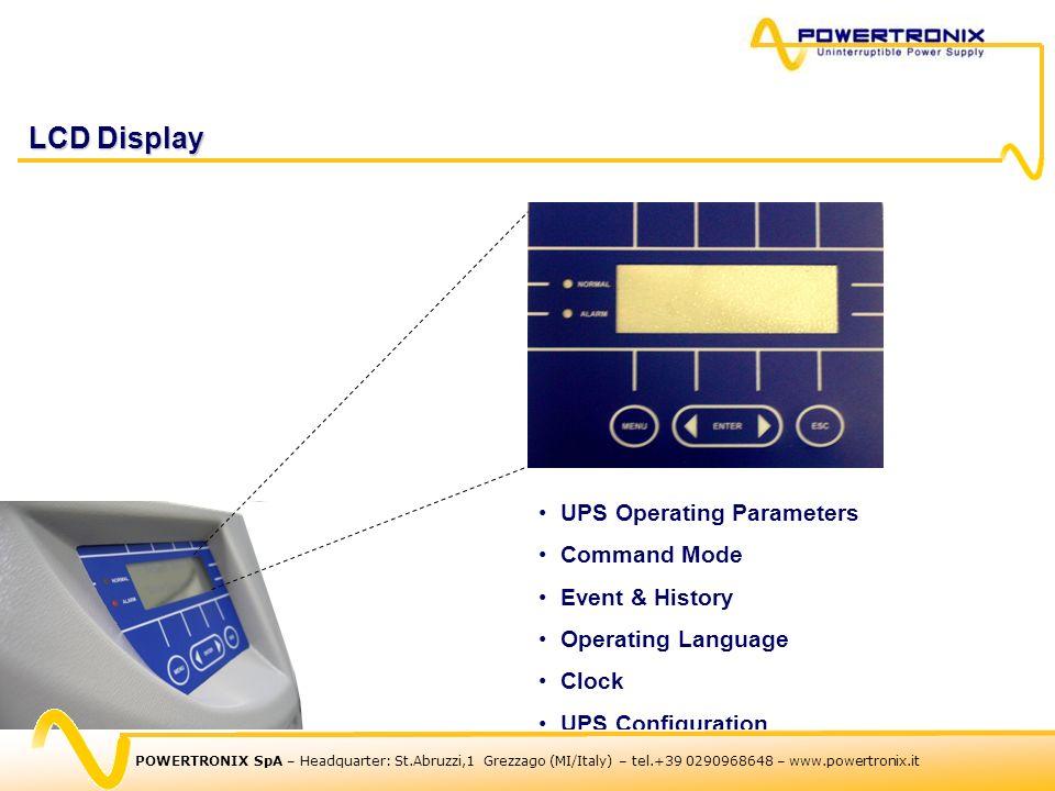 LCD Display UPS Operating Parameters Command Mode Event & History Operating Language Clock UPS Configuration POWERTRONIX SpA – Headquarter: St.Abruzzi