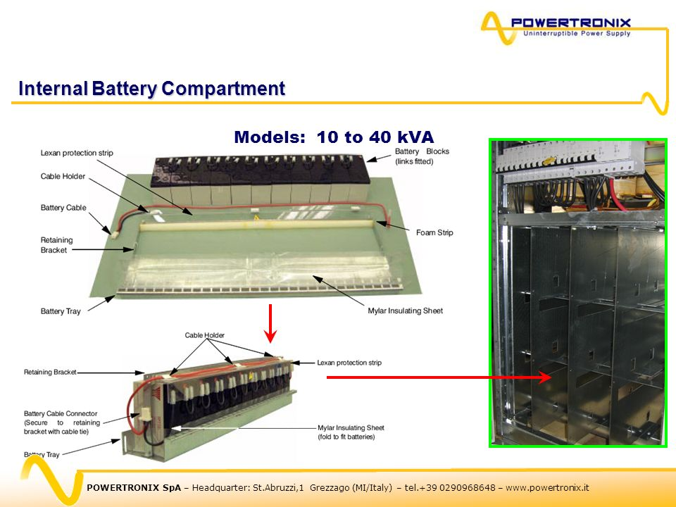 Internal Battery Compartment Models: 10 to 40 kVA For up to 4 strings of 32blocks of 7/9AH POWERTRONIX SpA – Headquarter: St.Abruzzi,1 Grezzago (MI/It