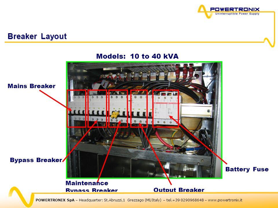 Breaker Layout Models: 10 to 40 kVA Mains Breaker Bypass Breaker Battery Fuse Output Breaker Maintenance Bypass Breaker POWERTRONIX SpA – Headquarter: