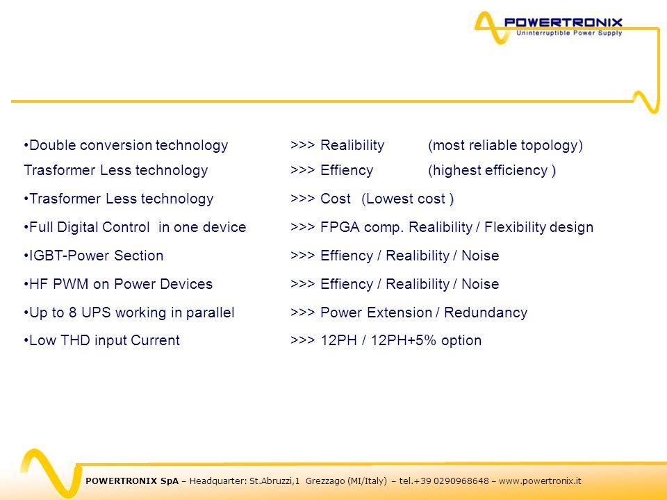 POWERTRONIX SpA – Headquarter: St.Abruzzi,1 Grezzago (MI/Italy) – tel.+39 0290968648 – www.powertronix.it )Double conversion technology>>> Realibility
