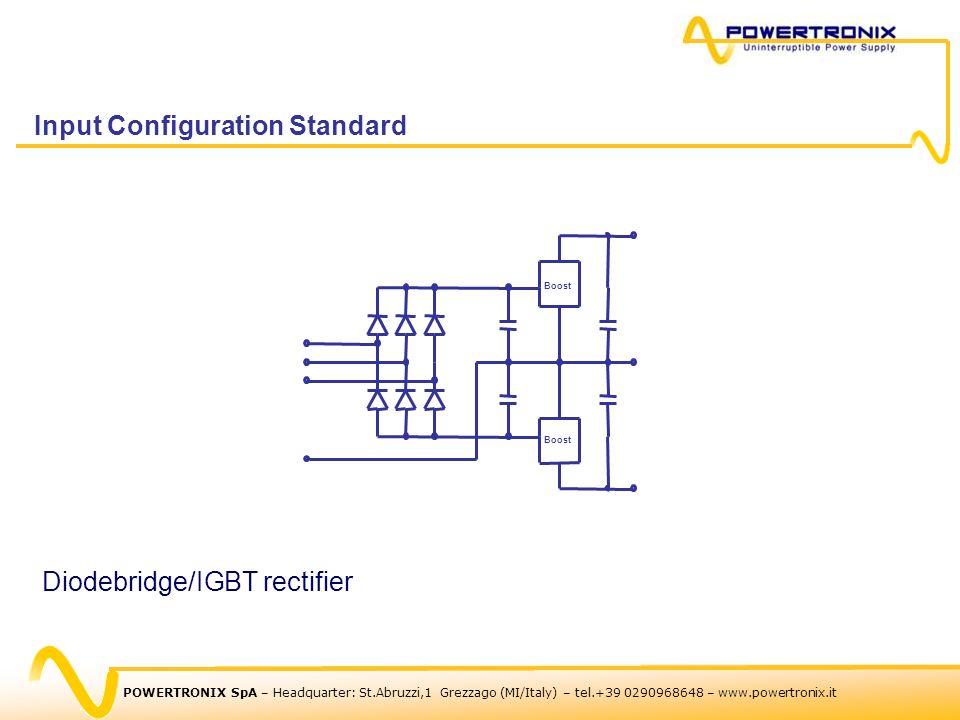 Boost Diodebridge/IGBT rectifier Input Configuration Standard POWERTRONIX SpA – Headquarter: St.Abruzzi,1 Grezzago (MI/Italy) – tel.+39 0290968648 – w