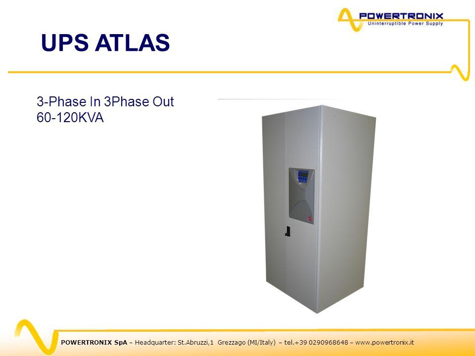 POWERTRONIX SpA – Headquarter: St.Abruzzi,1 Grezzago (MI/Italy) – tel.+39 0290968648 – www.powertronix.it 3-Phase In 3Phase Out 60-120KVA UPS ATLAS