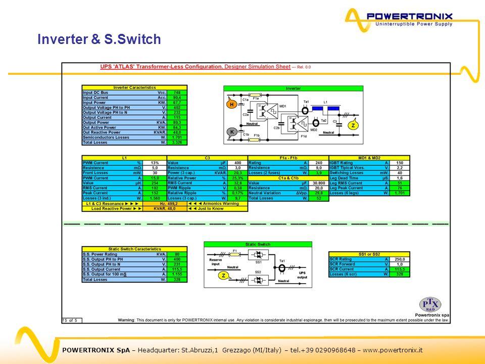POWERTRONIX SpA – Headquarter: St.Abruzzi,1 Grezzago (MI/Italy) – tel.+39 0290968648 – www.powertronix.it Inverter & S.Switch