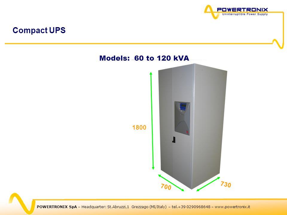 POWERTRONIX SpA – Headquarter: St.Abruzzi,1 Grezzago (MI/Italy) – tel.+39 0290968648 – www.powertronix.it Compact UPS Models: 60 to 120 kVA 700 730 1800