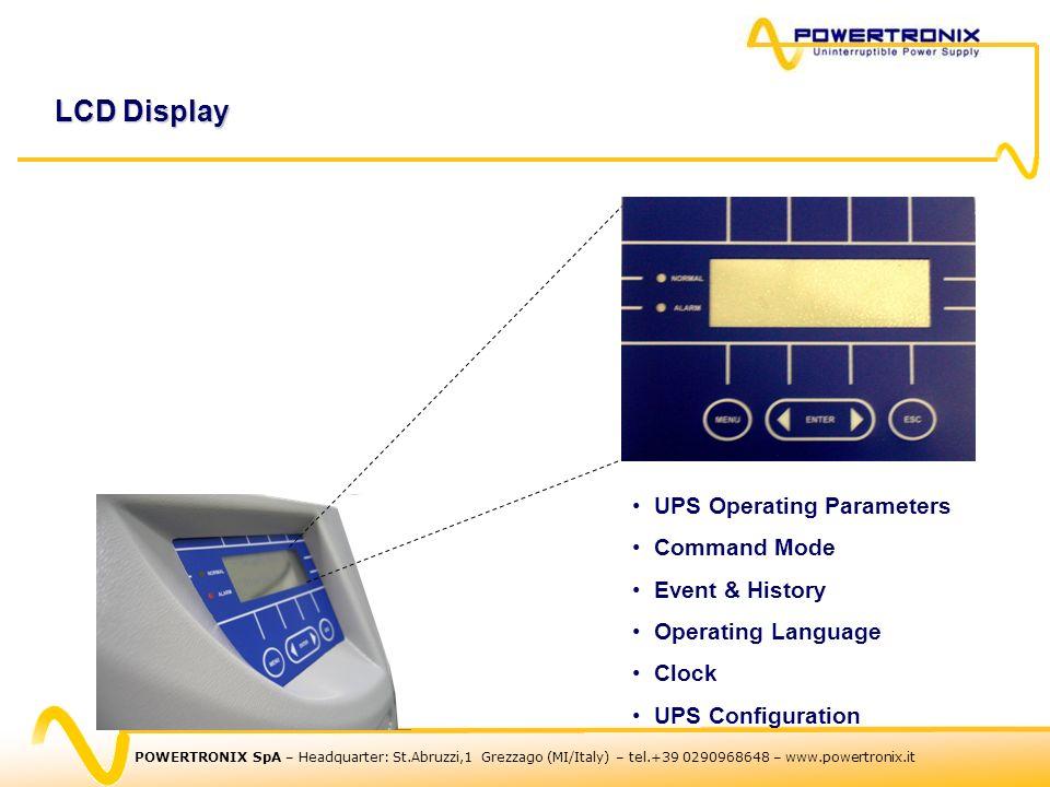 POWERTRONIX SpA – Headquarter: St.Abruzzi,1 Grezzago (MI/Italy) – tel.+39 0290968648 – www.powertronix.it LCD Display UPS Operating Parameters Command Mode Event & History Operating Language Clock UPS Configuration