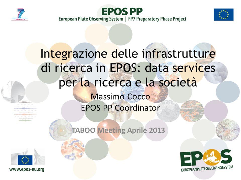 Massimo Cocco EPOS PP Coordinator TABOO Meeting Aprile 2013 Integrazione delle infrastrutture di ricerca in EPOS: data services per la ricerca e la società