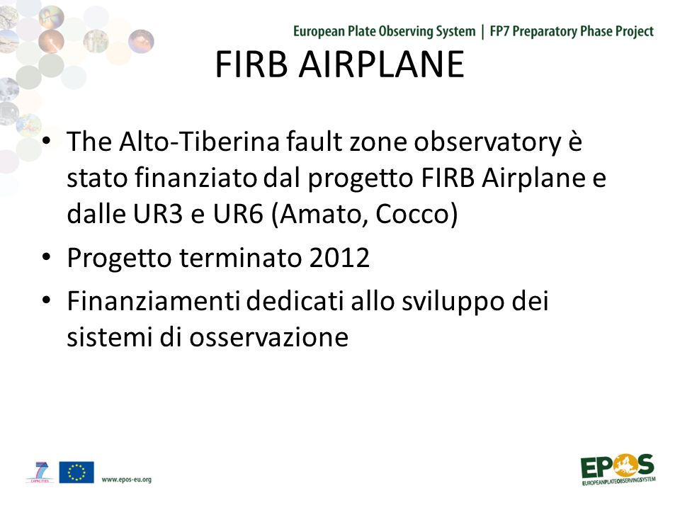 FIRB AIRPLANE The Alto-Tiberina fault zone observatory è stato finanziato dal progetto FIRB Airplane e dalle UR3 e UR6 (Amato, Cocco) Progetto terminato 2012 Finanziamenti dedicati allo sviluppo dei sistemi di osservazione