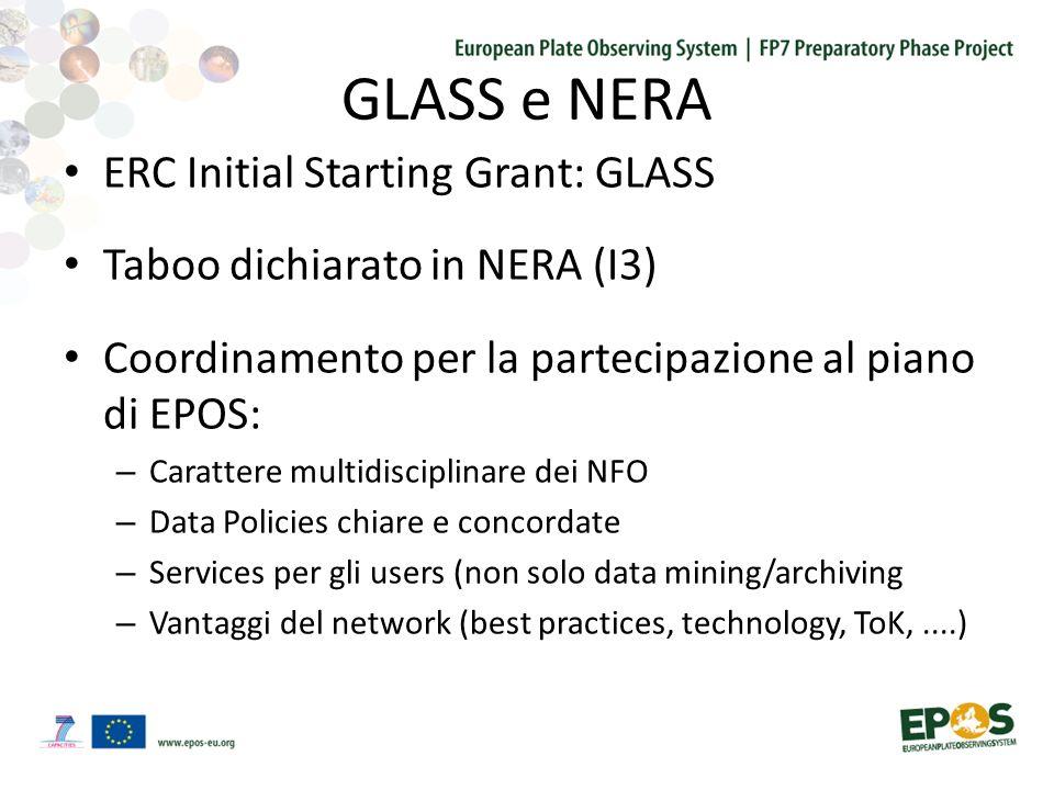 GLASS e NERA ERC Initial Starting Grant: GLASS Taboo dichiarato in NERA (I3) Coordinamento per la partecipazione al piano di EPOS: – Carattere multidisciplinare dei NFO – Data Policies chiare e concordate – Services per gli users (non solo data mining/archiving – Vantaggi del network (best practices, technology, ToK,....)
