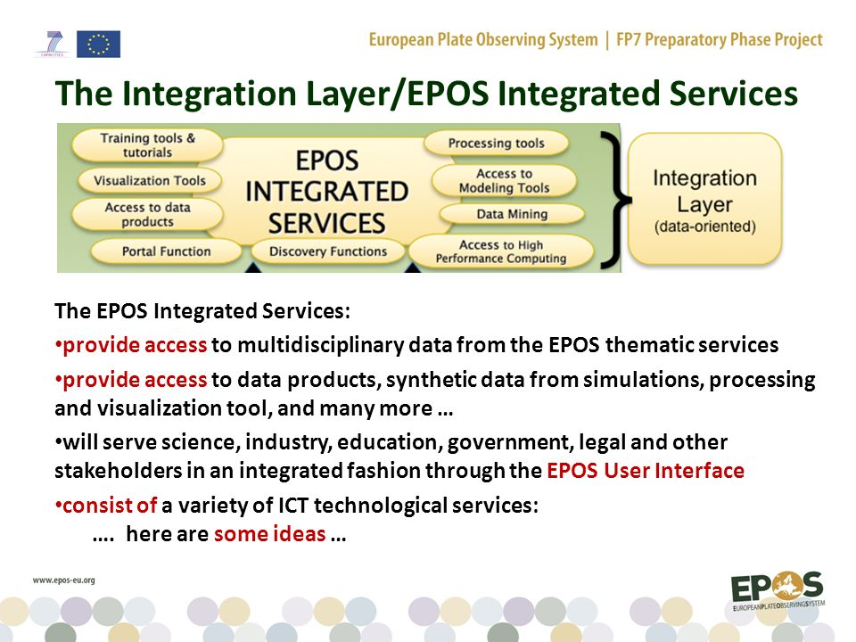 The Integration Layer/EPOS Integrated Services The EPOS Integrated Services: provide access to multidisciplinary data from the EPOS thematic services provide access to data products, synthetic data from simulations, processing and visualization tool, and many more … will serve science, industry, education, government, legal and other stakeholders in an integrated fashion through the EPOS User Interface consist of a variety of ICT technological services: ….