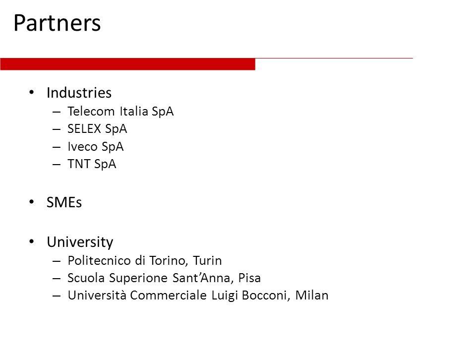 Partners Industries – Telecom Italia SpA – SELEX SpA – Iveco SpA – TNT SpA SMEs University – Politecnico di Torino, Turin – Scuola Superione SantAnna,