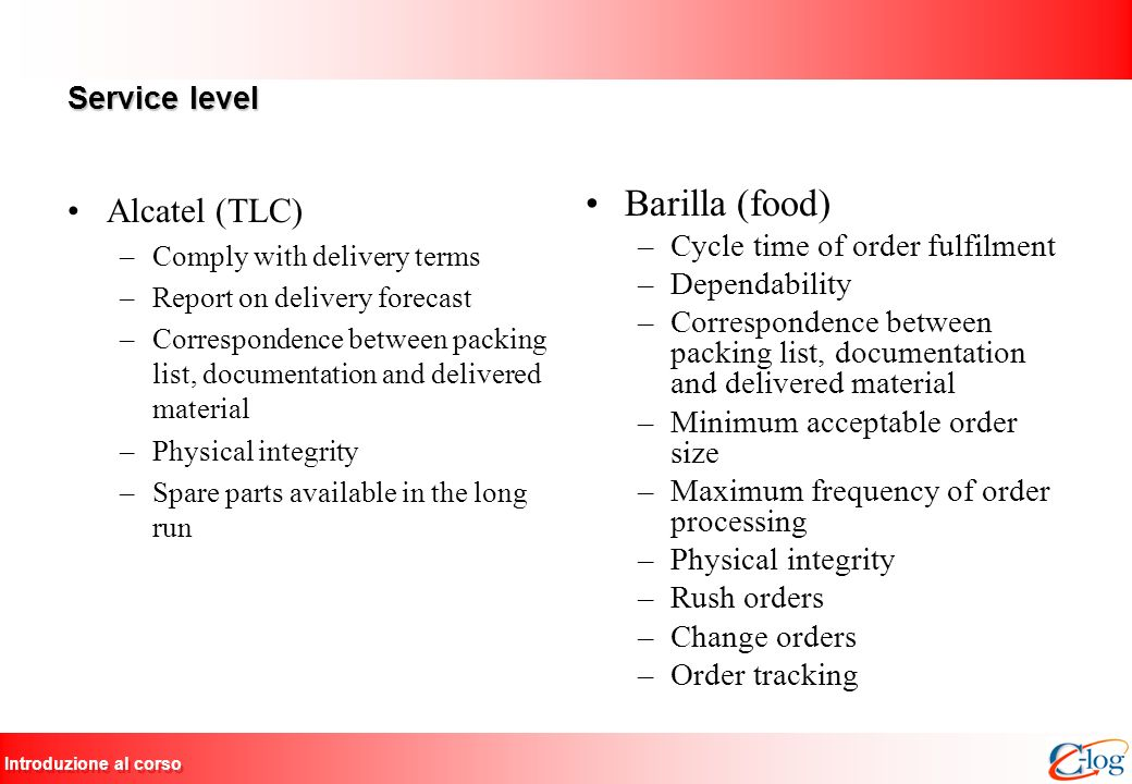 Introduzione al corso Service level Alcatel (TLC) –Comply with delivery terms –Report on delivery forecast –Correspondence between packing list, docum
