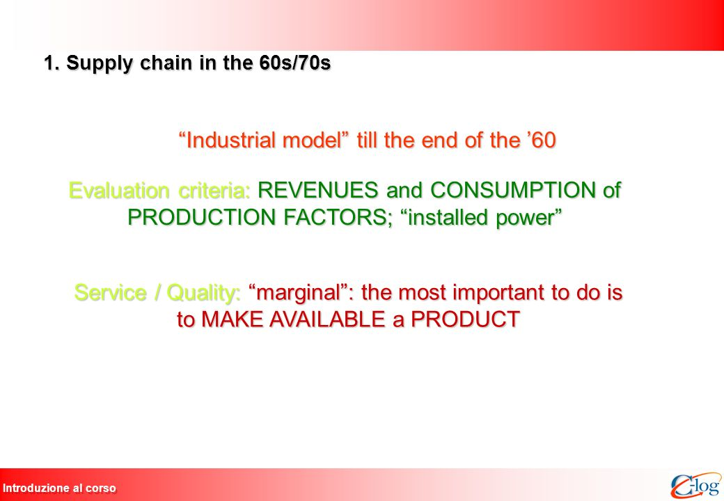 Introduzione al corso 1. Supply chain in the 60s/70s Industrial model till the end of the 60 Evaluation criteria: REVENUES and CONSUMPTION of PRODUCTI