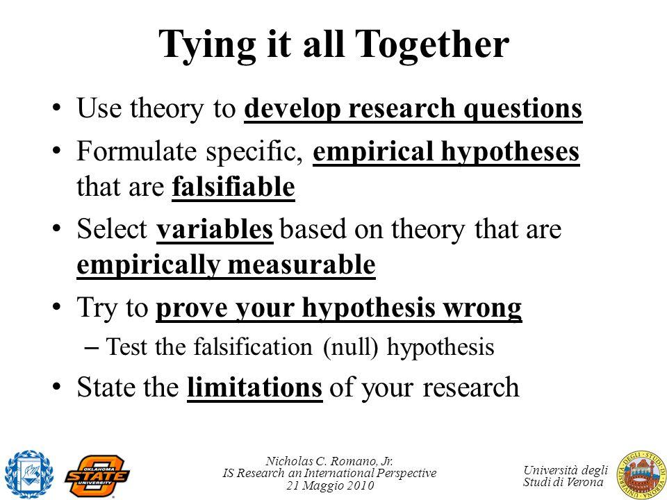 Nicholas C. Romano, Jr. IS Research an International Perspective 21 Maggio 2010 Università degli Studi di Verona Tying it all Together Use theory to d