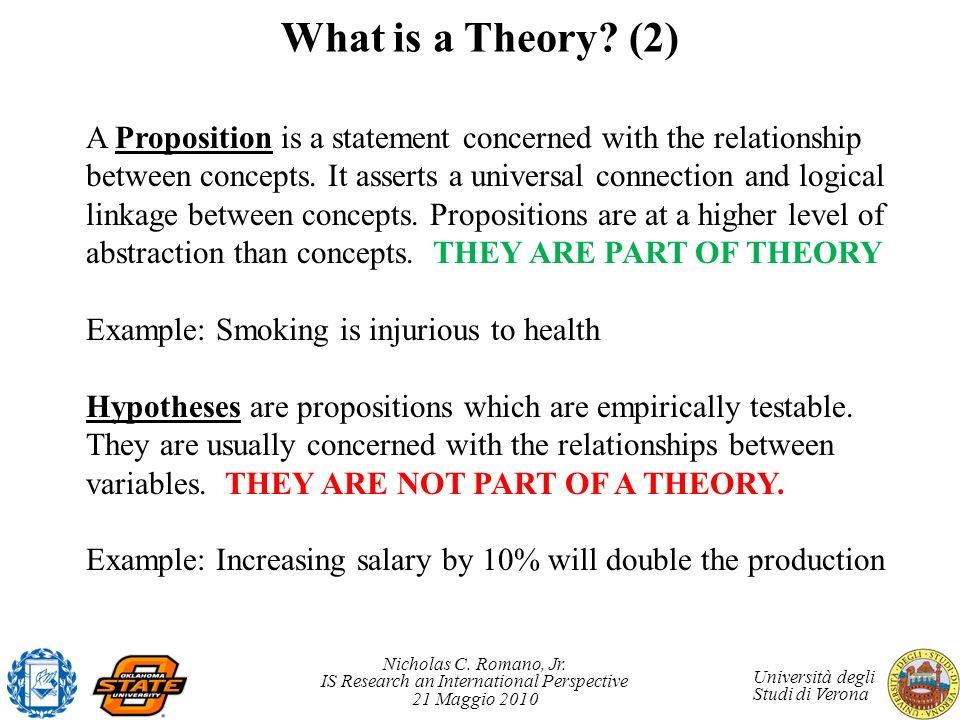 Nicholas C. Romano, Jr. IS Research an International Perspective 21 Maggio 2010 Università degli Studi di Verona What is a Theory? (2) A Proposition i
