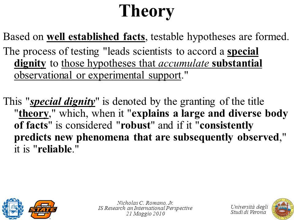 Nicholas C. Romano, Jr. IS Research an International Perspective 21 Maggio 2010 Università degli Studi di Verona Theory Based on well established fact