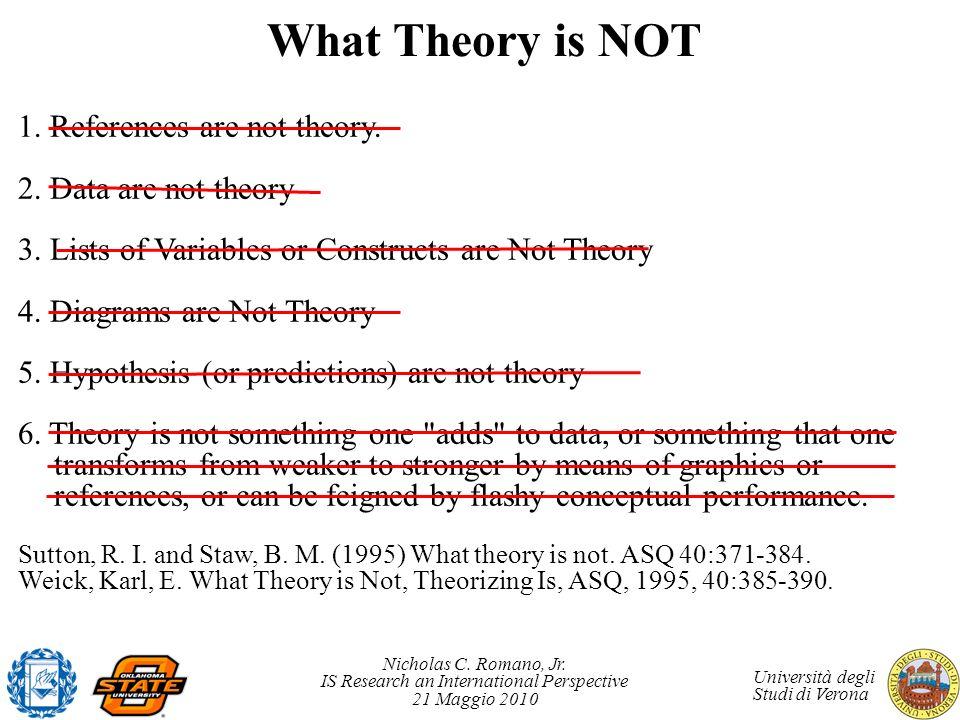 Nicholas C. Romano, Jr. IS Research an International Perspective 21 Maggio 2010 Università degli Studi di Verona What Theory is NOT 1. References are