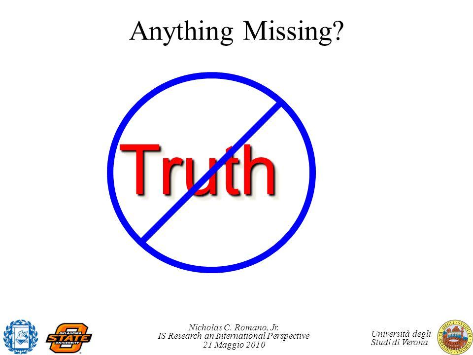 Nicholas C. Romano, Jr. IS Research an International Perspective 21 Maggio 2010 Università degli Studi di Verona Anything Missing? TruthTruth