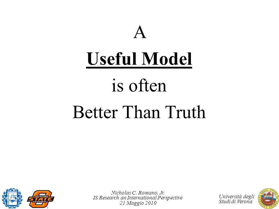 Nicholas C. Romano, Jr. IS Research an International Perspective 21 Maggio 2010 Università degli Studi di Verona A Useful Model is often Better Than T