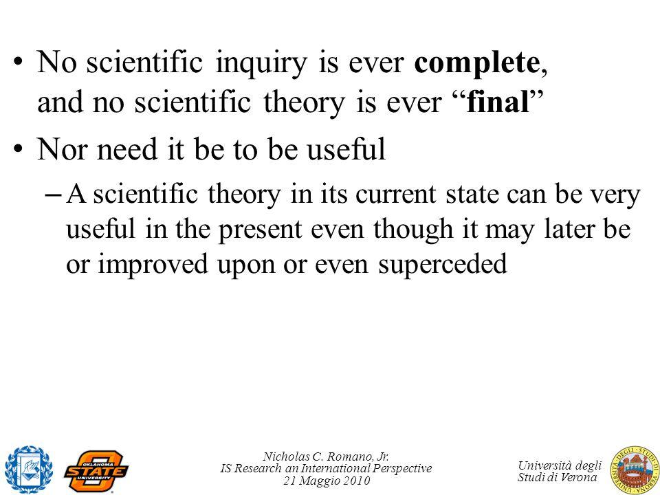 Nicholas C. Romano, Jr. IS Research an International Perspective 21 Maggio 2010 Università degli Studi di Verona No scientific inquiry is ever complet