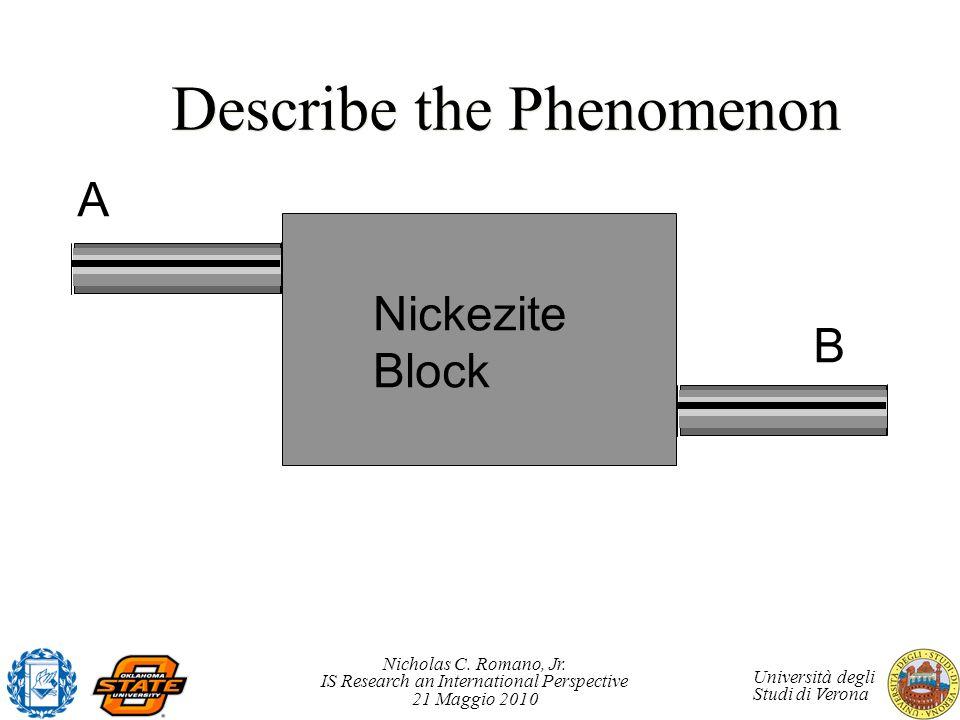 Nicholas C. Romano, Jr. IS Research an International Perspective 21 Maggio 2010 Università degli Studi di Verona Describe the Phenomenon Nickezite Blo