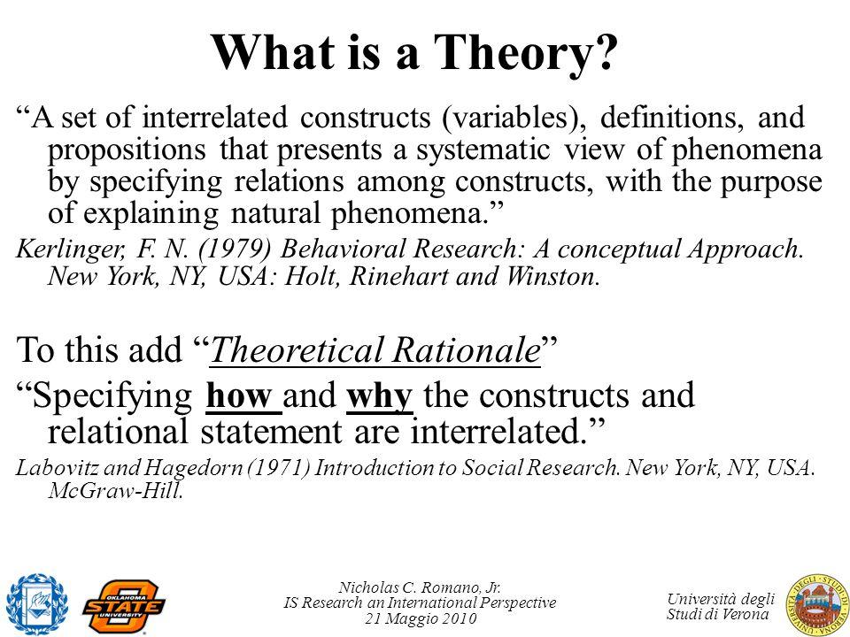 Nicholas C. Romano, Jr. IS Research an International Perspective 21 Maggio 2010 Università degli Studi di Verona What is a Theory? A set of interrelat