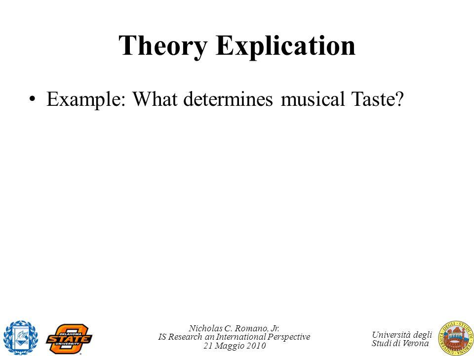 Nicholas C. Romano, Jr. IS Research an International Perspective 21 Maggio 2010 Università degli Studi di Verona Theory Explication Example: What dete
