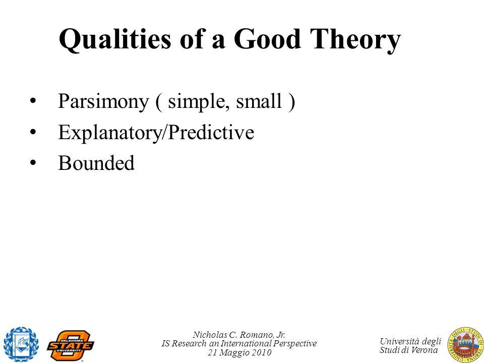 Nicholas C. Romano, Jr. IS Research an International Perspective 21 Maggio 2010 Università degli Studi di Verona Qualities of a Good Theory Parsimony