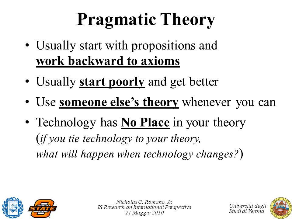 Nicholas C. Romano, Jr. IS Research an International Perspective 21 Maggio 2010 Università degli Studi di Verona Pragmatic Theory Usually start with p
