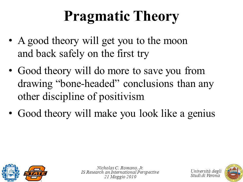 Nicholas C. Romano, Jr. IS Research an International Perspective 21 Maggio 2010 Università degli Studi di Verona Pragmatic Theory A good theory will g