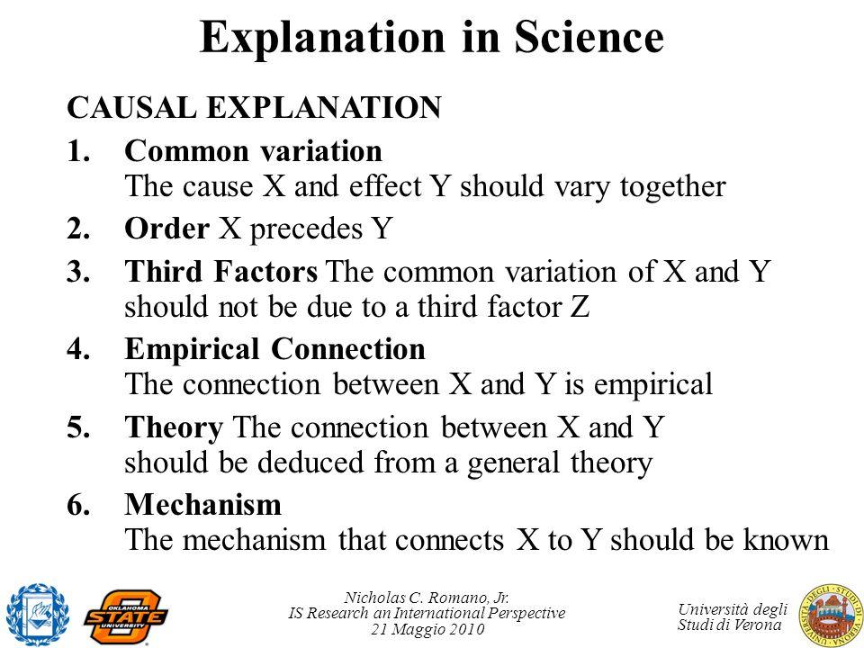 Nicholas C. Romano, Jr. IS Research an International Perspective 21 Maggio 2010 Università degli Studi di Verona Explanation in Science CAUSAL EXPLANA