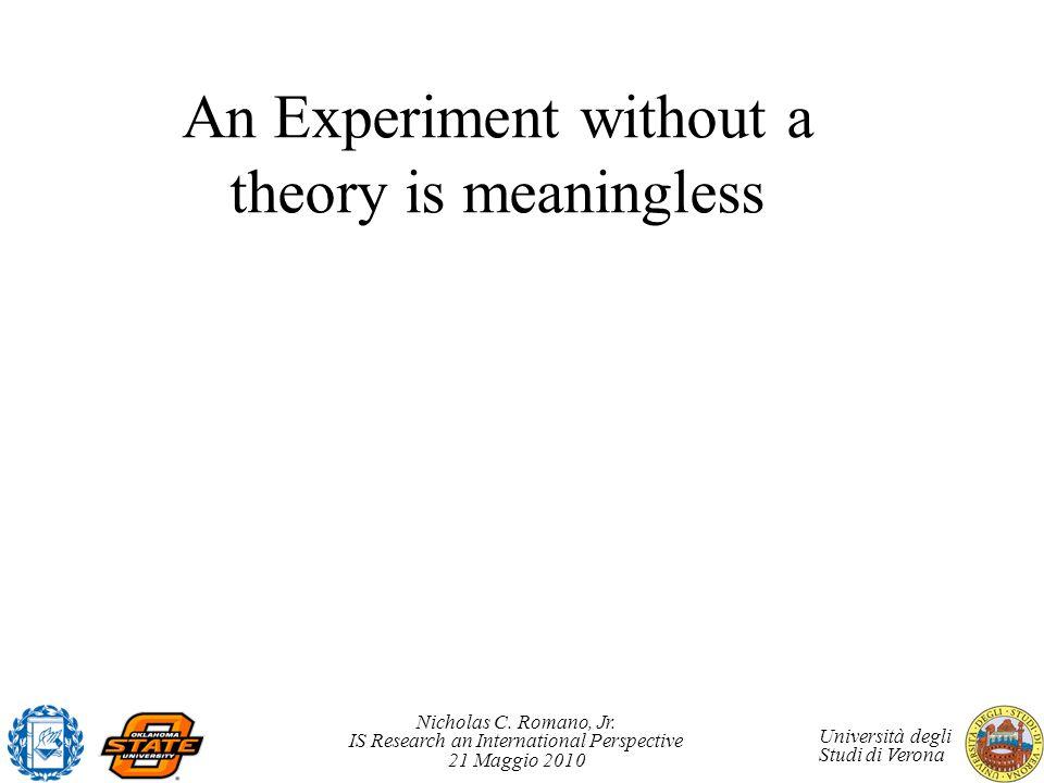Nicholas C. Romano, Jr. IS Research an International Perspective 21 Maggio 2010 Università degli Studi di Verona An Experiment without a theory is mea