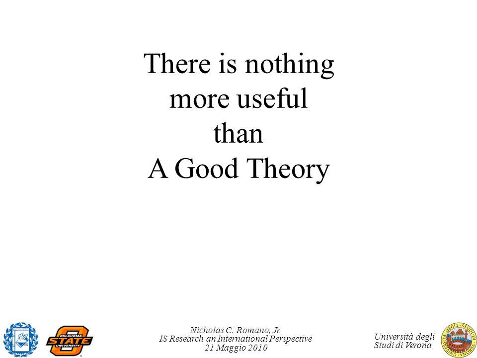 Nicholas C. Romano, Jr. IS Research an International Perspective 21 Maggio 2010 Università degli Studi di Verona There is nothing more useful than A G