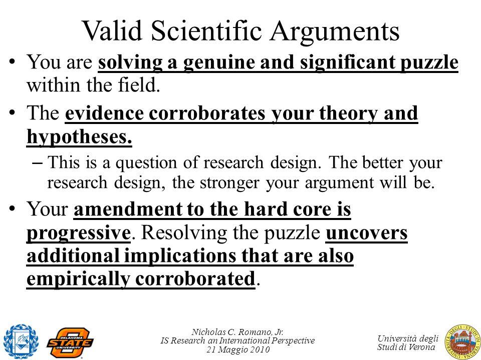 Nicholas C. Romano, Jr. IS Research an International Perspective 21 Maggio 2010 Università degli Studi di Verona Valid Scientific Arguments You are so