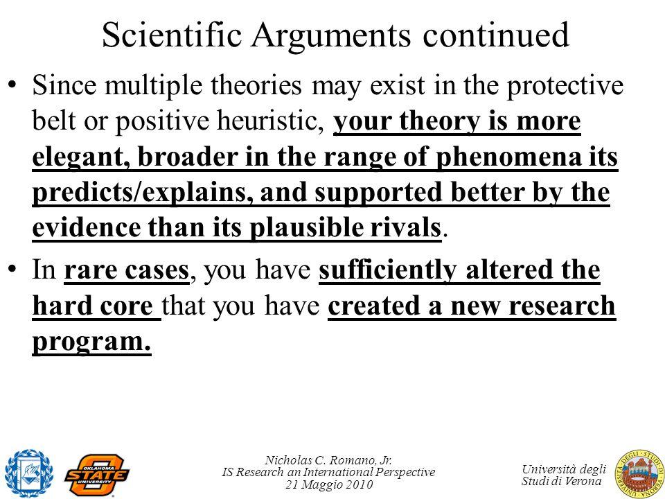 Nicholas C. Romano, Jr. IS Research an International Perspective 21 Maggio 2010 Università degli Studi di Verona Scientific Arguments continued Since