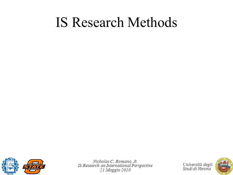 Nicholas C. Romano, Jr. IS Research an International Perspective 21 Maggio 2010 Università degli Studi di Verona IS Research Methods
