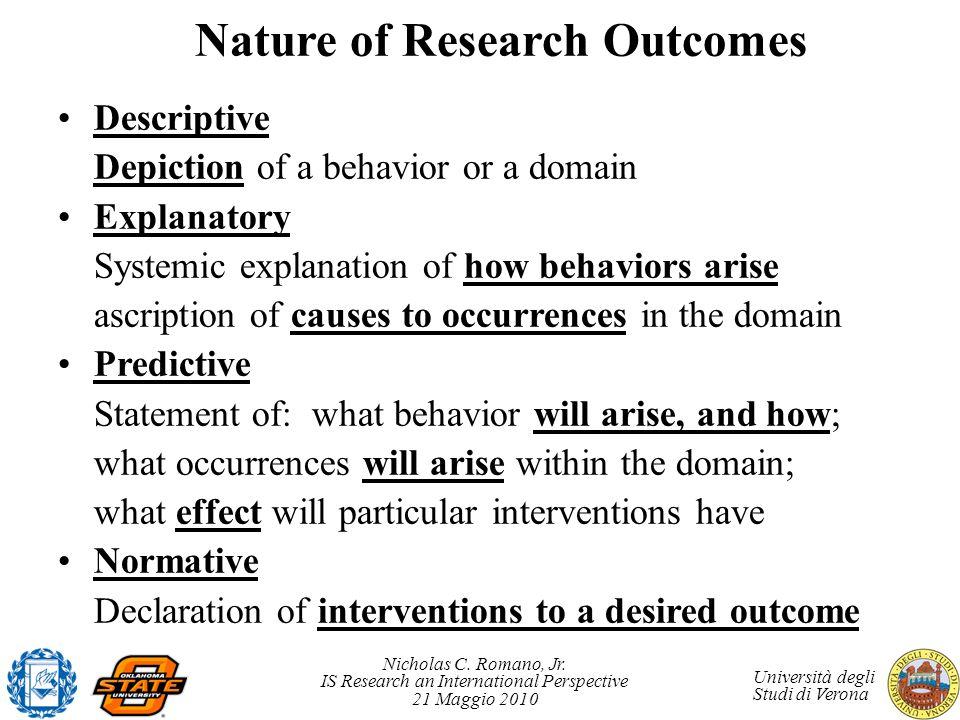 Nicholas C. Romano, Jr. IS Research an International Perspective 21 Maggio 2010 Università degli Studi di Verona Nature of Research Outcomes Descripti