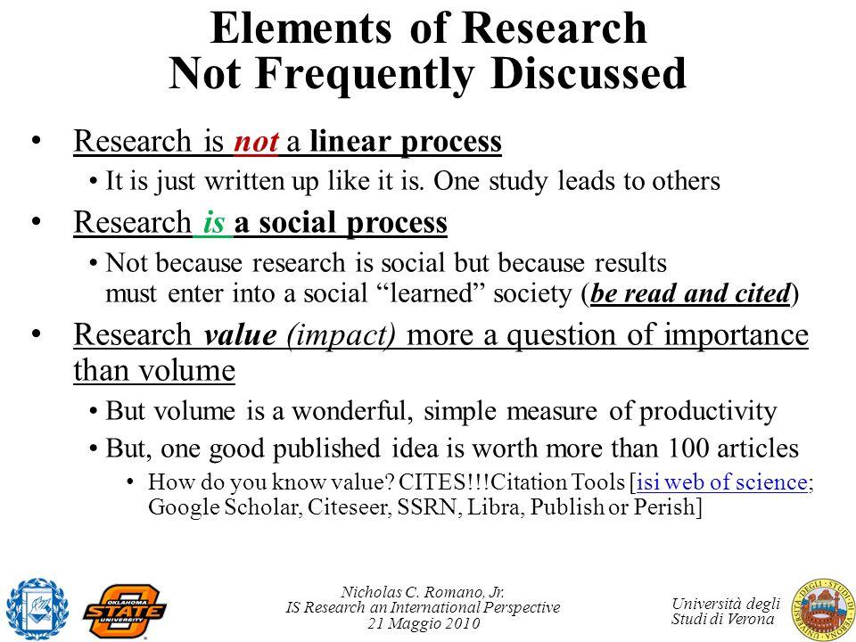Nicholas C. Romano, Jr. IS Research an International Perspective 21 Maggio 2010 Università degli Studi di Verona Elements of Research Not Frequently D