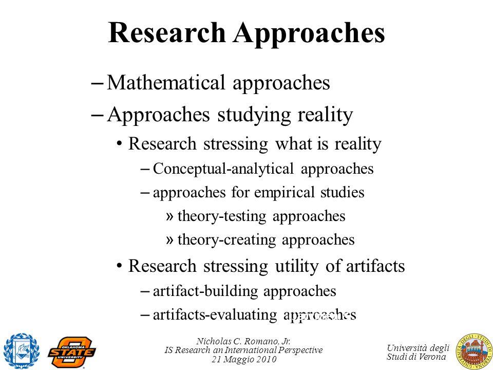 Nicholas C. Romano, Jr. IS Research an International Perspective 21 Maggio 2010 Università degli Studi di Verona Research Approaches – Mathematical ap