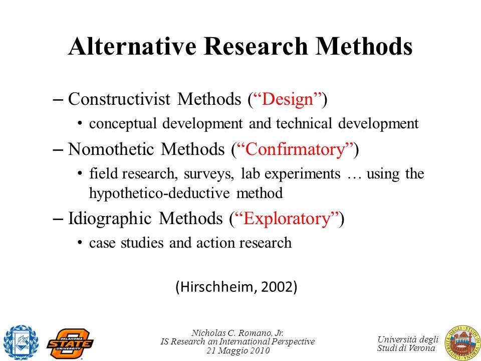 Nicholas C. Romano, Jr. IS Research an International Perspective 21 Maggio 2010 Università degli Studi di Verona Alternative Research Methods – Constr