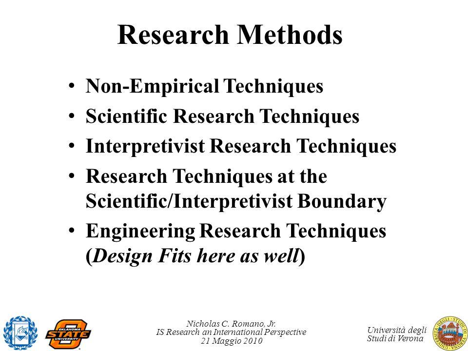 Nicholas C. Romano, Jr. IS Research an International Perspective 21 Maggio 2010 Università degli Studi di Verona Research Methods Non-Empirical Techni
