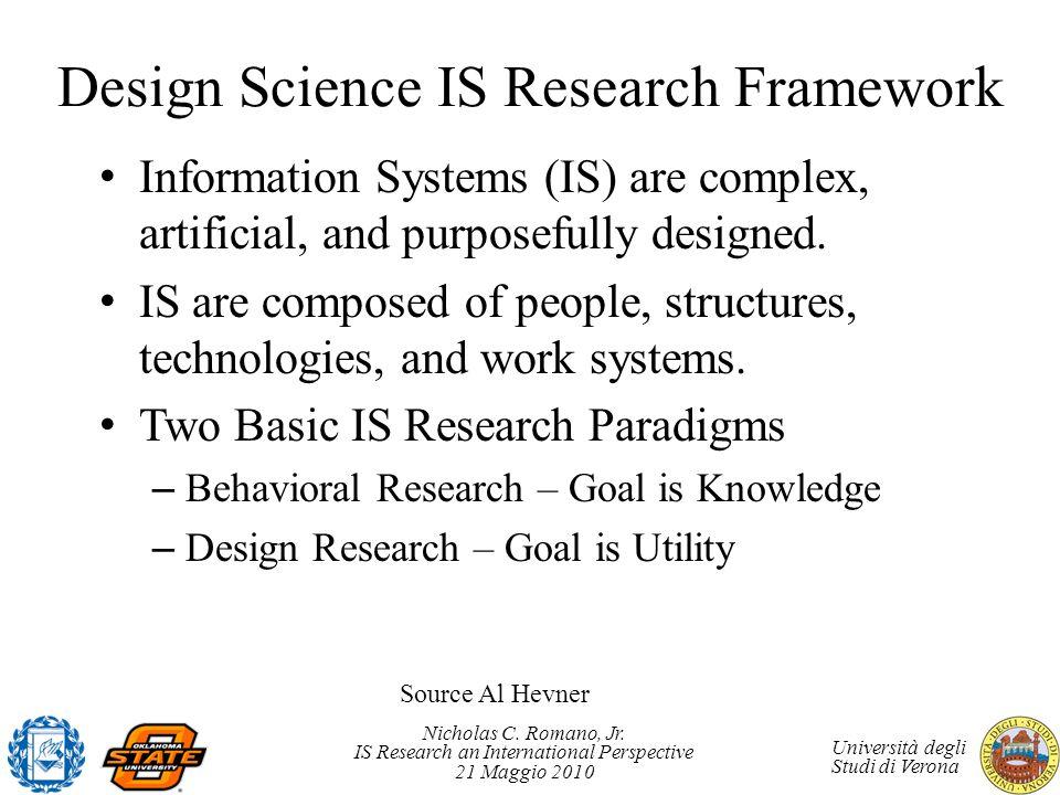 Nicholas C. Romano, Jr. IS Research an International Perspective 21 Maggio 2010 Università degli Studi di Verona Design Science IS Research Framework