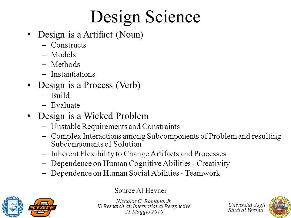 Nicholas C. Romano, Jr. IS Research an International Perspective 21 Maggio 2010 Università degli Studi di Verona Design Science Design is a Artifact (