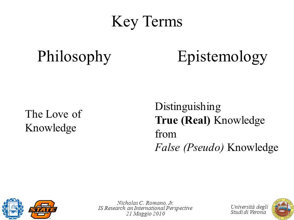 Nicholas C. Romano, Jr. IS Research an International Perspective 21 Maggio 2010 Università degli Studi di Verona Key Terms PhilosophyEpistemology The