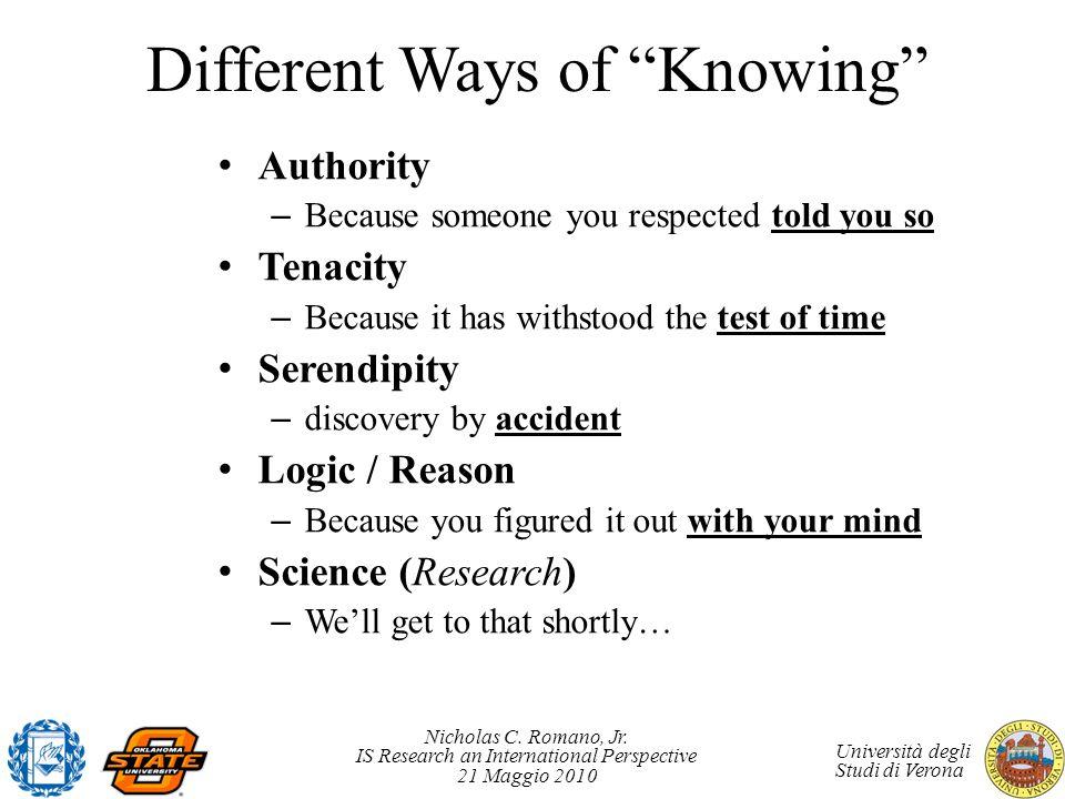 Nicholas C. Romano, Jr. IS Research an International Perspective 21 Maggio 2010 Università degli Studi di Verona Different Ways of Knowing Authority –